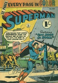 Superman (Colour Comics, 1950 series) #109 — One Hour to Doom! (Cover)