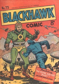Blackhawk Comic (Youngs, 1948 series) #73 — The Flying Saucer Base (Cover)