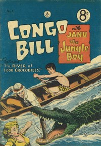 Congo Bill with Janu the Jungle Boy (Colour Comics, 1955 series) #1 — The River of 1,000 Crocodiles!