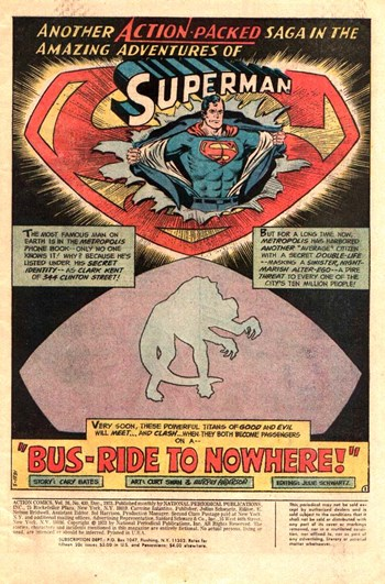 Action Comics (DC, 1938 series) #430 — Bus-Ride to Nowhere! (page 1)