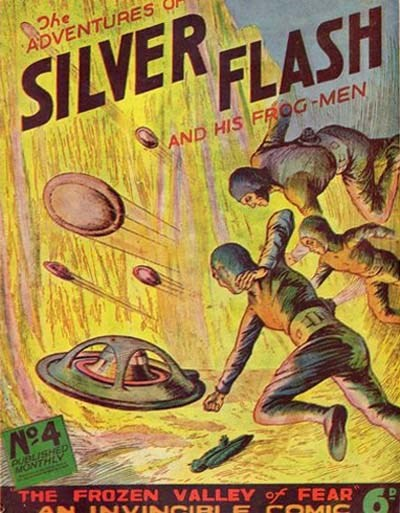Silver Flash and his Frog-Men (Invincible, 1949 series) #4 ([September 1950?]) —The Adventures of Silver Flash and His Frog-Men