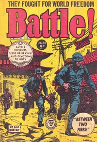 Battle! (Transport, 1953 series) #24 — Between Two Fires! (Cover)