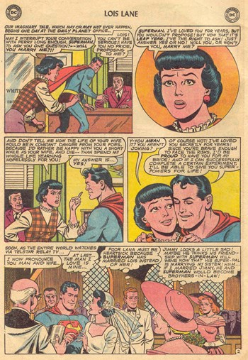 Superman's Girl Friend, Lois Lane (DC, 1958 series) #51 — The Terrible Secret of Mrs. Lois Superman! [The Three Wives of Superman! Part I] (page 1)