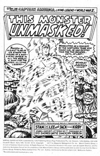 This Monster Unmasked, Page 1—Marvel Super Action (Yaffa/Page, 1977 series) #1  ([March 1977?])