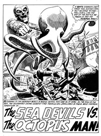 The Sea Devils vs. the Octopus Man, Page 1—Superman Presents Wonder Comic Monthly (KG Murray, 1973 series) #110  ([June 1974])