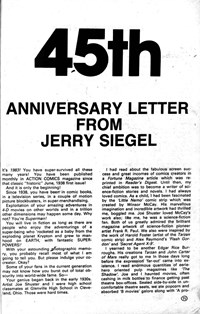 Superman III (Federal, 1983?)  — 45the Anniversary Letter from Jerry Siegel (page 1)