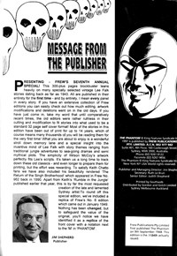The Phantom (Frew, 1983 series) #1156 — Message from the Publisher (page 1)