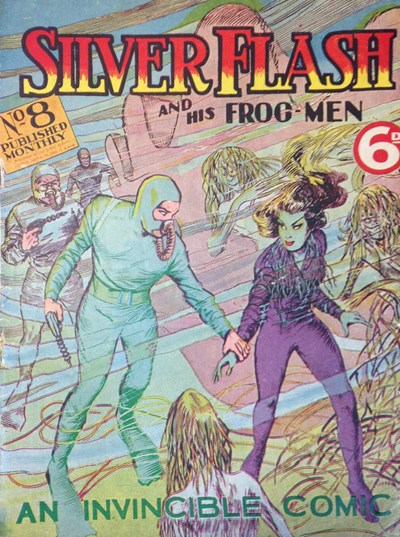 Silver Flash and his Frog-Men (Invincible, 1949 series) #8 (January 1951) —Silver Flash and His Frog Men