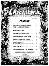 Strange Experience (Gredown, 1975 series) v1#4 — Contents (page 1)
