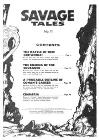 Savage Tales (KG Murray, 1975 series) #11 — Contents (page 1)