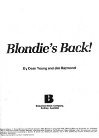 Blondie's Back! (Beaumont, 1983)  — Blondie's Back (page 1)